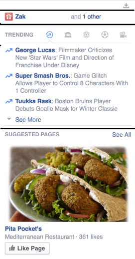Facebook Right Sidebar Annotated